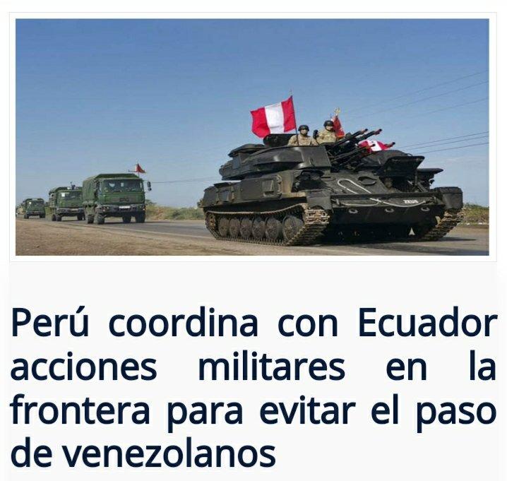 https://t.co/0NSQwtaz8b  Perú coordina con Ecuador acciones militares en la frontera para evitar el paso de venezolanos #peru #ecuador #militares #policias #violadores #ddhh #venezolanos #refugiados #migrantes @ONU_es @CIDH @hrw @ACNURamericas @jguaido @JulioBorges @AsambleaVE https://t.co/bLVrCVlGXZ