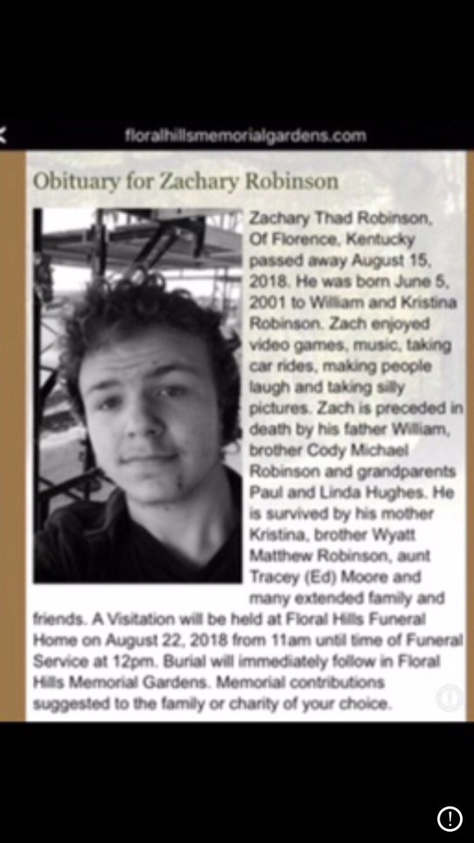 1) No family should suffer the loss of child, compounded by blatant injustice. 2 years ago my child Zach died. GF Rachel said Zach was suicidal, stole her dad's handgun & gave to Zach (17). He died 8-15-18 NO ARREST #WantonEndangerment @kyoag #wednesdaythought #AnxietyMakesMe