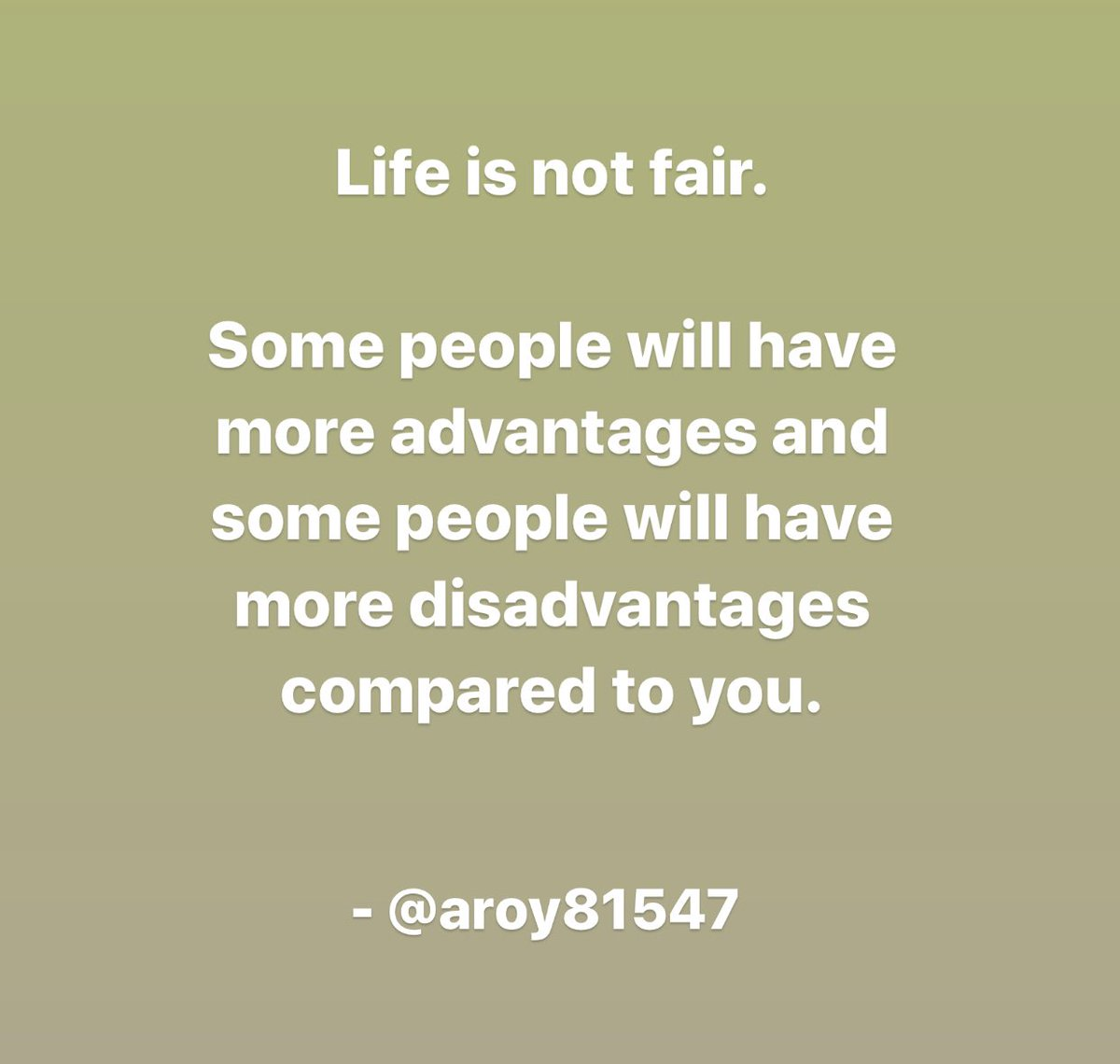 Have to make the best of the cards you're dealt with and if you're in a position of power, you should be looking to create a more equitable society . . . #life #not #fair #advantage #disadvantage #compare #comparison #reality #continue #despite  #sit #complain #act #try #create