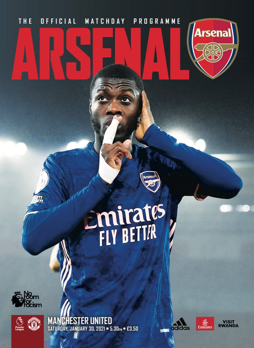 🚨@Arsenal v @ManUtd programme🚨  ⌛️Order by 10am tomorrow for matchday delivery  🙏Thanks @HectorBellerin for taking over captain's notes this issue – we're all with you @Aubameyang7  🔴⚪️ Also @m8arteta @Bernd_Leno @DavidLuiz_4 @ThierryHenry & Alex Kirk