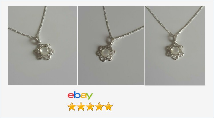 New 925 Sterling Silver Small Flower and Mother of Pearl Necklace - gift boxed | eBay #sterlingsilver #motherofpearl #flower #pendant #necklace #handmade #cabochons #gemstones #jewellery #gifts #giftideas #giftsforher #prettything #jewelry #accessories