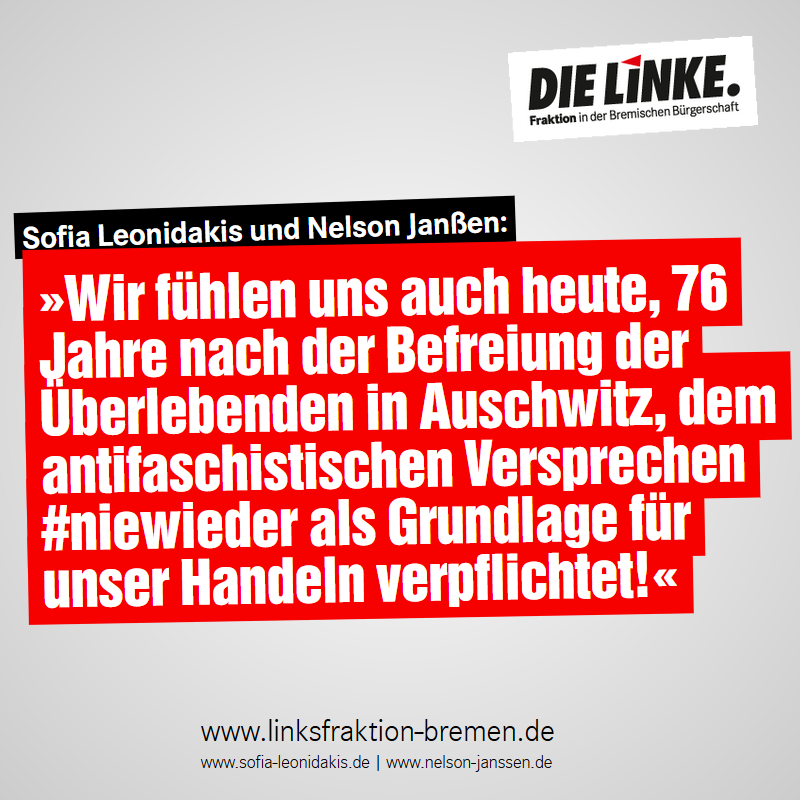 """""""Niemals dürfen wir die Menschen vergessen, die Opfer des Nationalsozialismus wurden.   #WeRemember!  ➡️ Mehr:   #Hbbue #Bremen #Linke #Auschwitz #HolocaustGedenktag #NieWieder #Holocaust #HolocaustMemorialDay"""