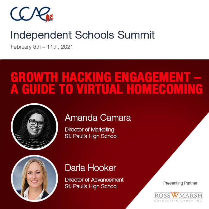"""The #IndependentSchool Summit is coming this February 8-11! Sign on and enjoy  amazing presentations like this one featuring:  Amanda Camara & Darla Hooker, of @stpauls on """"Growth Hacking #Engagement – A Guide to #VirtualHomecoming""""  Register:  @RossMarsh"""