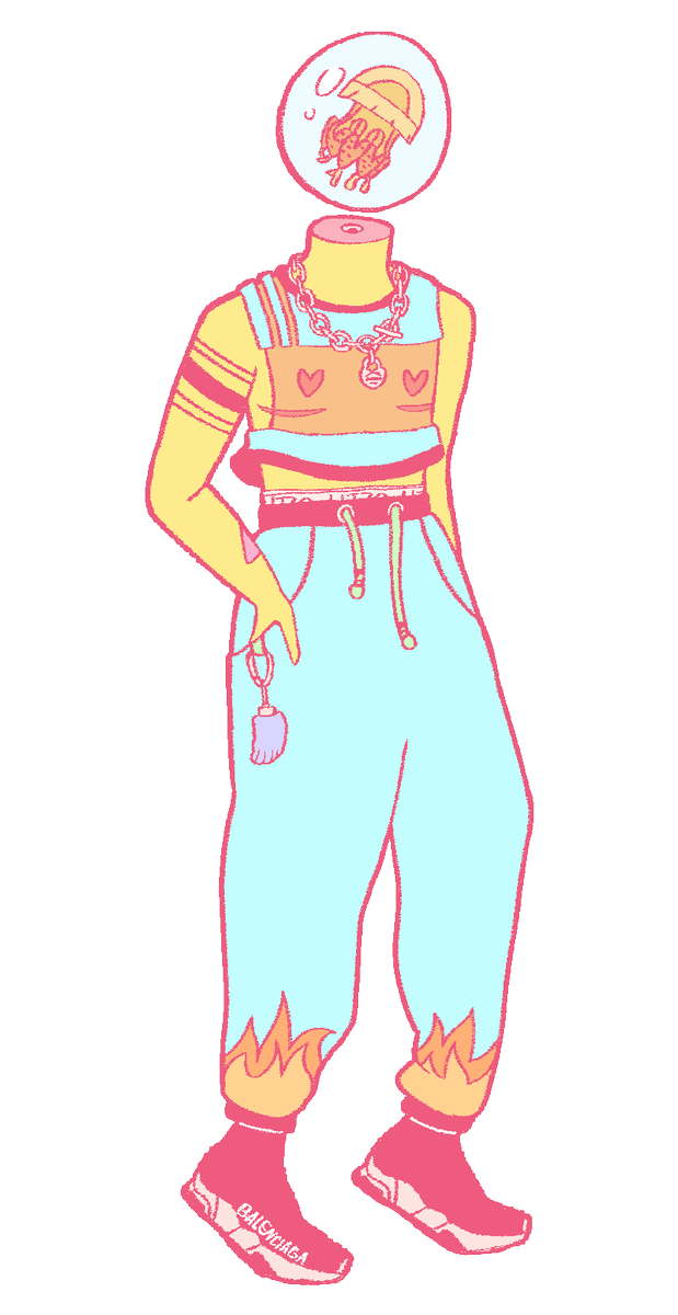 designing a new sona… i like jellyfish n im getting into comfy fashion lately. tiffany chainz and balenciaga kicks baby ;) also the spine in the neck is a vape port where u can screw in sativa carts (indica at bedtime). dont ask how THAT works! idk either! #artistsontwitter #art