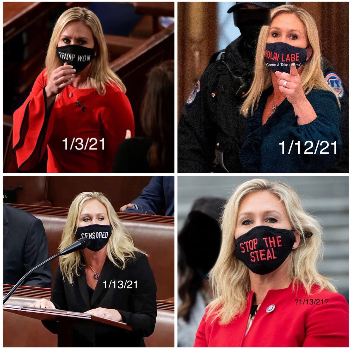 And now a congressperson, @RepMTG wears these masks on the grounds or in the #USCapitol! #ConspiracyLunatic #DomesticTerrorists #SeditionHasConsequences #ExpelMarjorieTaylorGreene