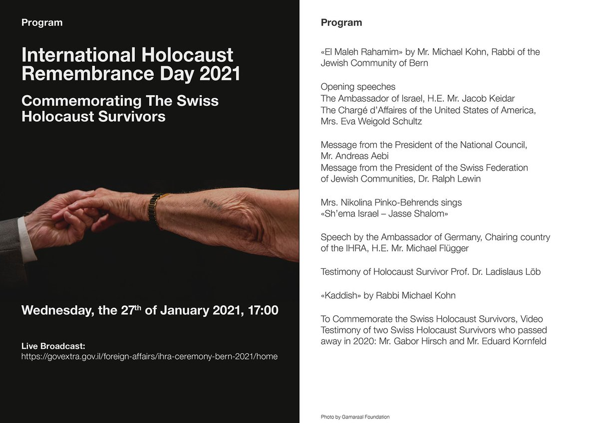 Please join members of the Bern community today at 17h00 to mark #HolocaustRemembranceDay.   Together we will honor the memory of the victims and carry forward the messages of survivors.   We must stay vigilant in order to combat hatred. #HMD2021