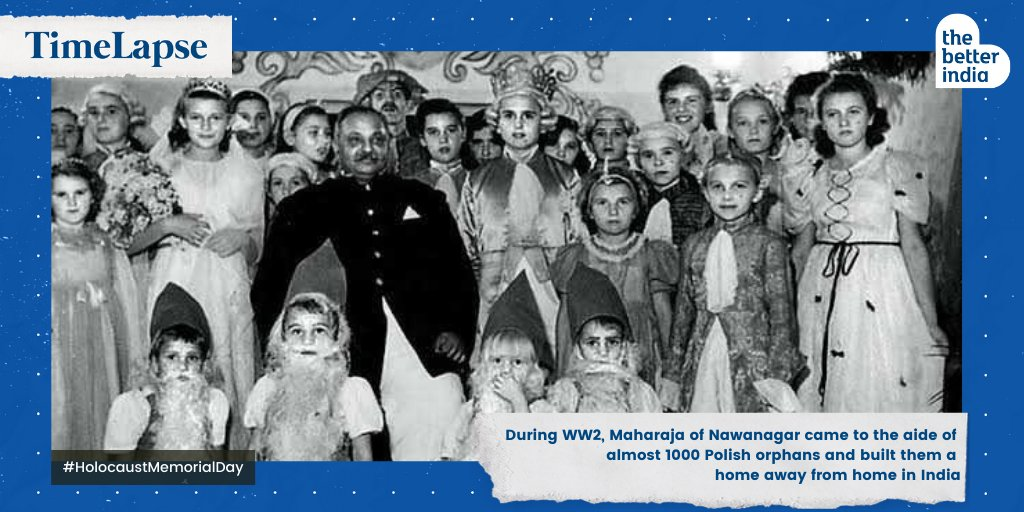 During WW2, Maharaja of Nawanagar came to the aide of almost 1000 Polish orphans and built them a home away from home in India. #HolocaustMemorialDay #HolocaustRemembranceDay