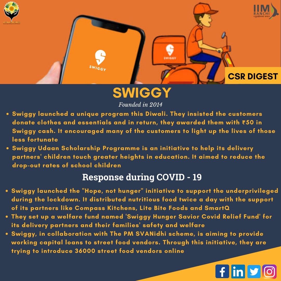 Swiggy took many initiatives to contribute to society in every aspect, including nutrition, education, finance etc.Samarpan accolades Swiggy for all its efforts and wishes the company touches greater heights! #IIMRanchi #CSR #Swiggy #Sustainability #SocialImpact #CSRDigest