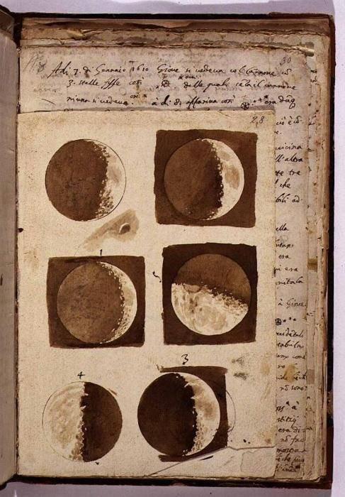 Galileo Galilei, 1610. Watercolours of the moon.