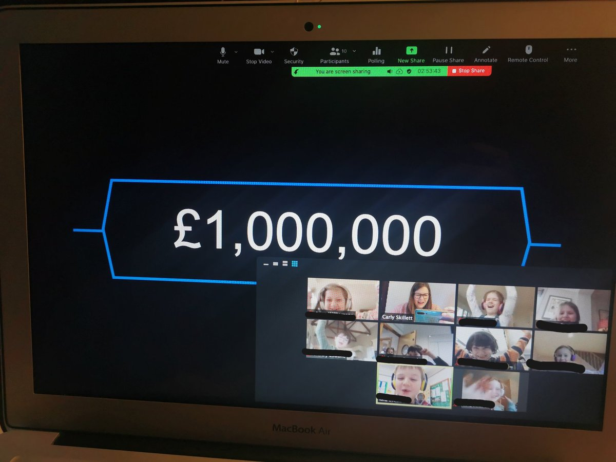 Year 3 Maths today - #whowantstobeamillionaire length/measures style! We all won £1,000,000 (just a shame it was virtual!) #maths #year3 #remotelearning #funmaths #farleigh #farleighmaths #games #onlinefun