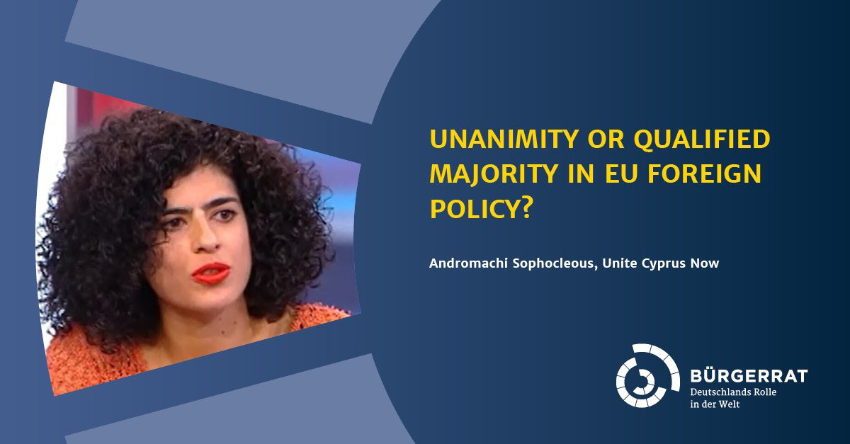 "Veto in EU foreign policy using the example of gas drilling off Cyprus and Belarus - input by @andromachi3 (@UniteCyprusNow) on 27 January at the Citizens' Assembly ""Germany's Role in the World"". https://t.co/NOdxObpLme #CAGermanysRole https://t.co/rntpYi46S7"