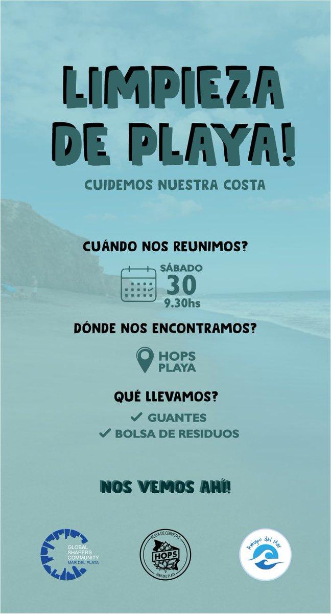 Los esperamos este sábado 30 9:30 am para una limpieza de playa en Felix U. Camet al 1500. Si se quieren sumar escríbannos por md o en nuestro instagram @globalshapersmdp ❕💙