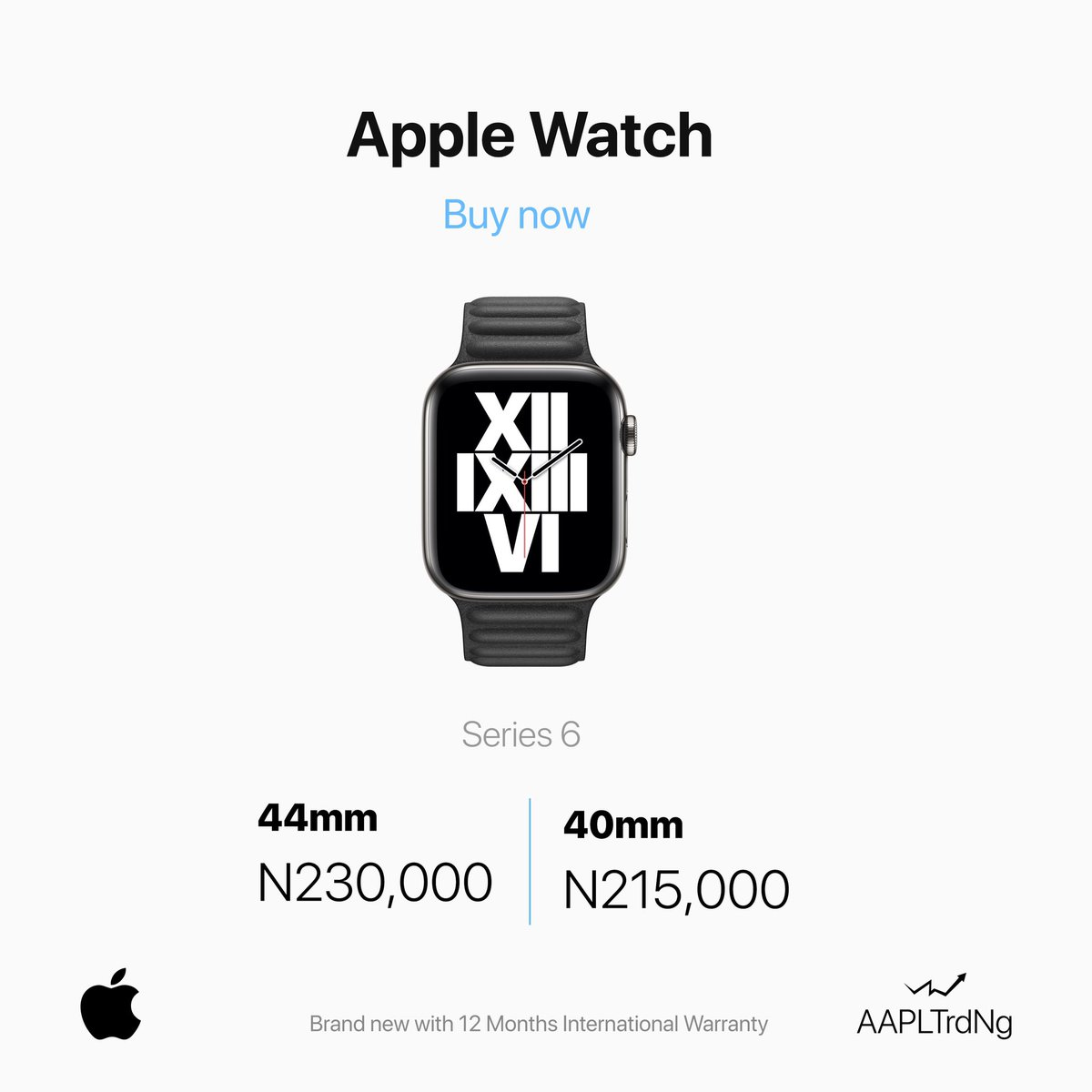 @apple Watch Series 6 GPS IN-STORE** @aapltrdng _ 40mm N215,000 44mm N230,000 _ Product Informtion _ Always-On Retina display with Force Touch _ GPS and GPS + Cellular Models _ 40mm 04 44mm case; Over 30 Percent Larger display _ https://t.co/CjxaWAvtNO