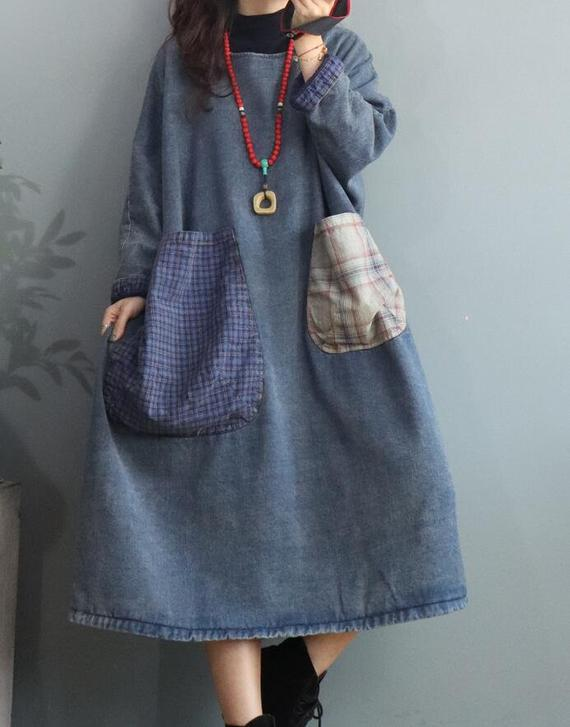 Denim winter dress, Dresses for women, oversized  #clothing #women'sclothing #dresses #longdress #dressforwoman