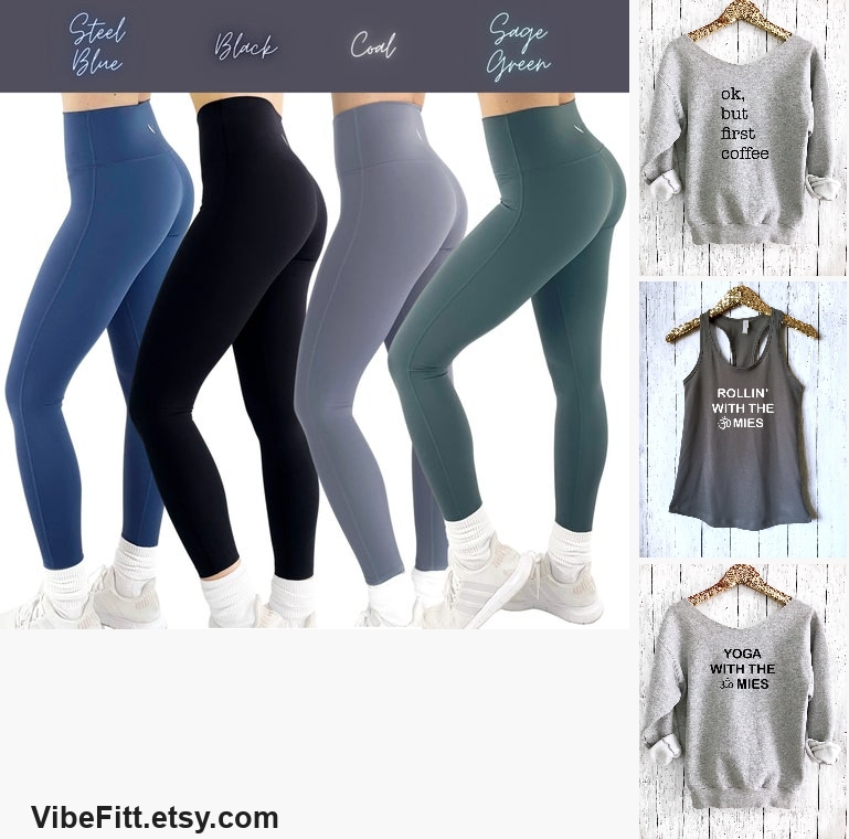 High Waisted Leggings in Green Blue Black or  #clothing #women'sclothing #leggings