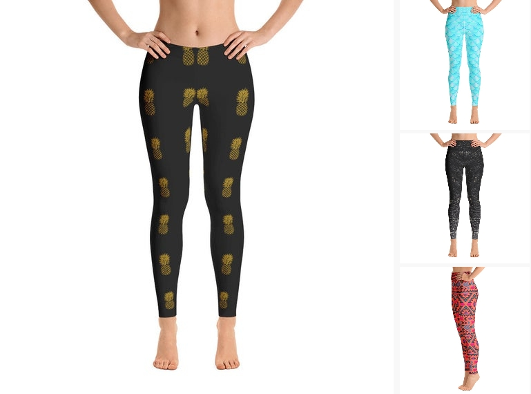 Pineapple Black Print Women Leggings Fruits  #clothing #women'sclothing #leggings