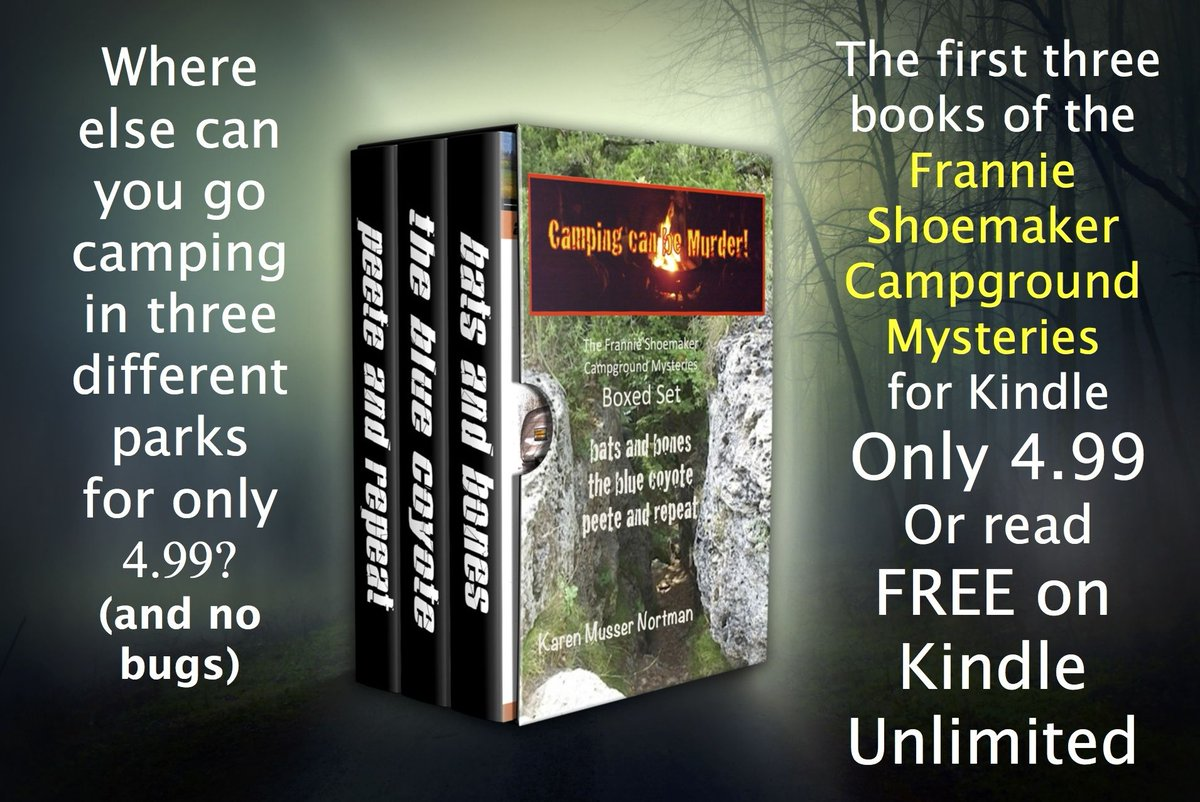 Get away for a camping trip, but remember, CAMPING CAN BE MURDER! Books 1, 2, and 3 of the Frannie Shoemaker Campground Mysteries. #cozymystery #KindleUnlimited #IARTG https://t.co/SaGL5Obx5A https://t.co/3EeS56GD9g