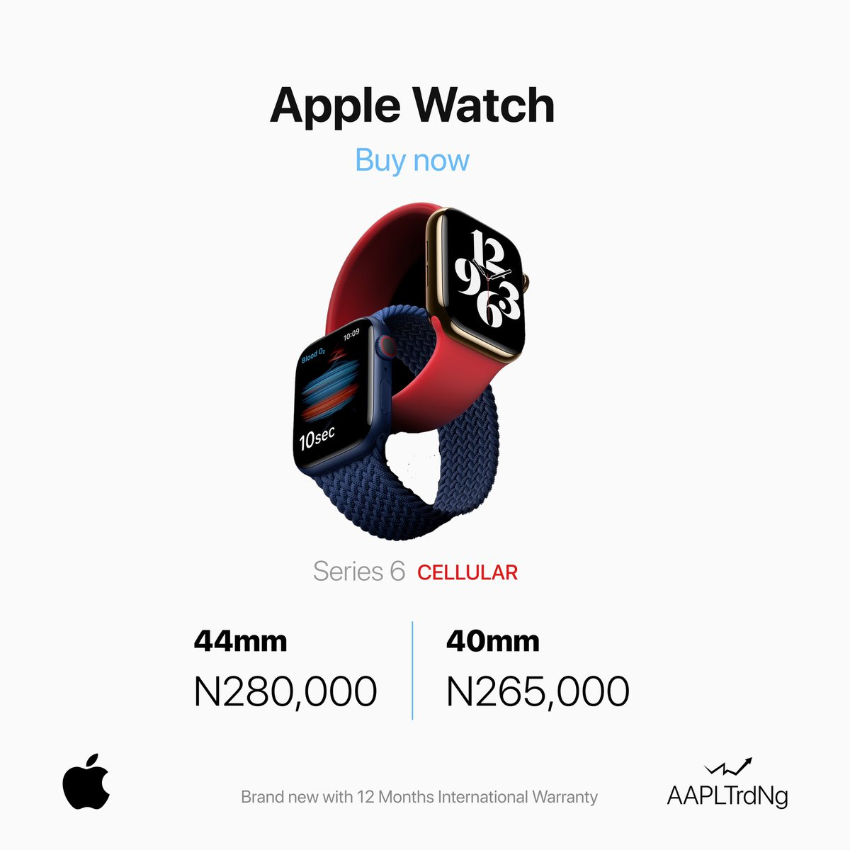@apple Watch Series 6 CELLULAR IN-STORE** @aapltrdng _ 40mm N265,000 44mm N280,000 _ Product Informtion _ Always-On Retina display with Force Touch _ GPS and GPS + Cellular Models _ 40mm 04 44mm case; Over 30 Percent Larger display _ https://t.co/dK4PAm2tEC