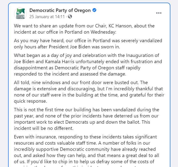 The Democrat Party of Oregon is blaming Republicans for the Antifa attack on their headquarters