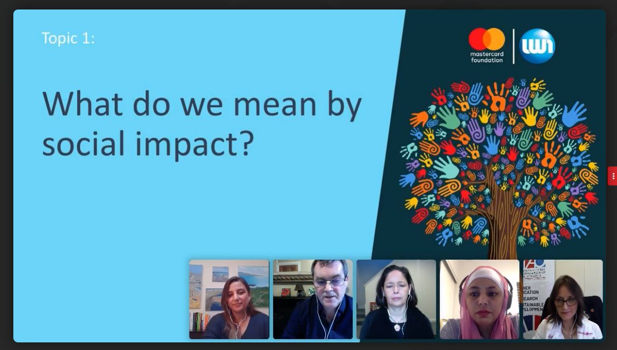 📺Happening now: Webinar organized by @uniworldnews with global expert panel from #highered and 500 participants following the discussion on #socialimpact of #universities  @VantlandH representing @IAU_AIU Members and partners on the panel