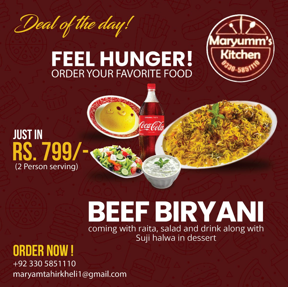 Deal of the day valid till tmrw lunch! Beef biryani, raita and salad with a bottle of drink and suji halwa in dessert 😋 Don't wait order now ‼️ . . .  #foodiesofinstagram #eats #instacool #foodstagram #instafood #foodpic #foodgasm #delicious #foodoftheday #foodpics #Food
