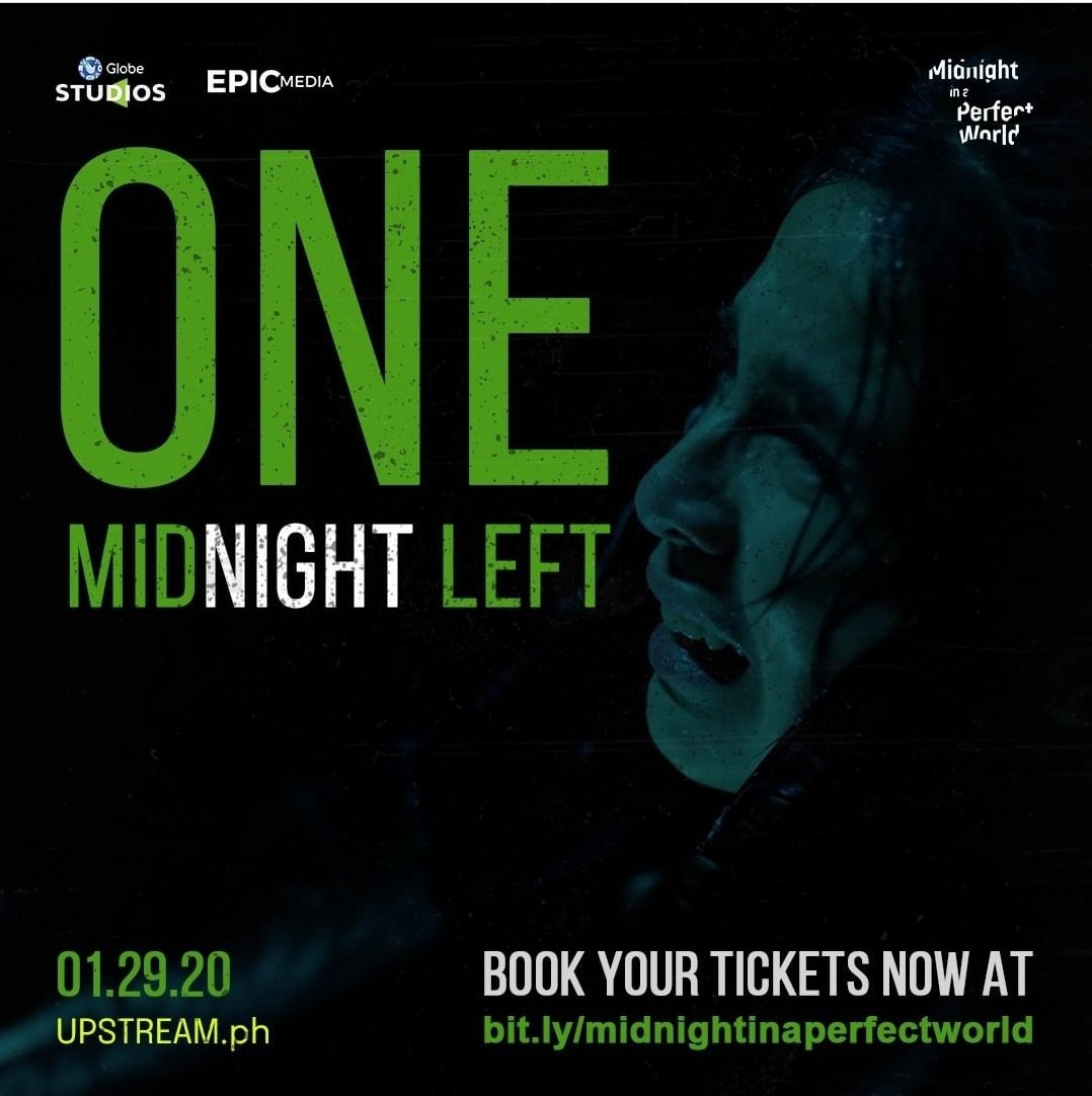 ONE MIDNIGHT LEFT. Nakahanap ka na ba ng safehouse? 👀  Directed by Dodo Dayao, streaming exclusively worldwide on  this January 29, 2021.  Book your tickets now at !  #MidnightInAPerfectWorld #GlobeStudios #Epicmedia