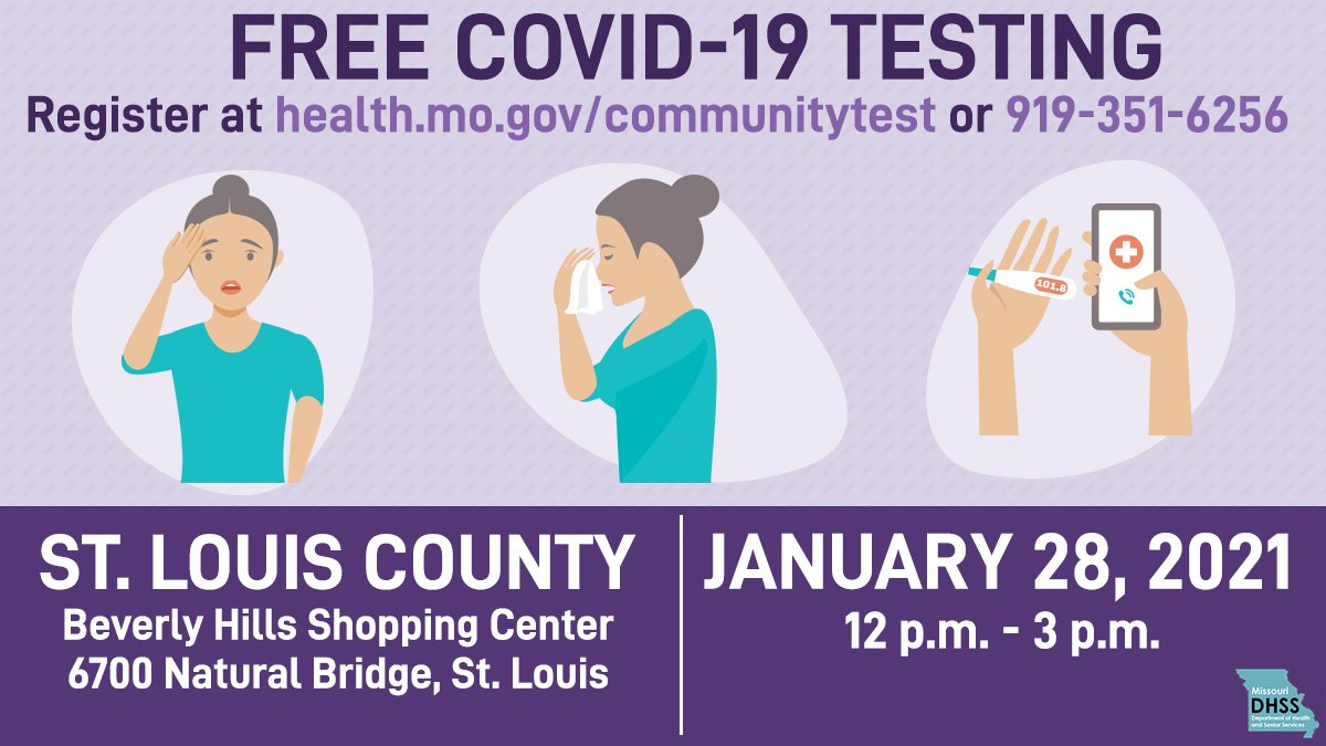 COVID-19 Testing is available at Beverly Hills Shopping Center on Thursday from Noon - 3pm. Please see below.