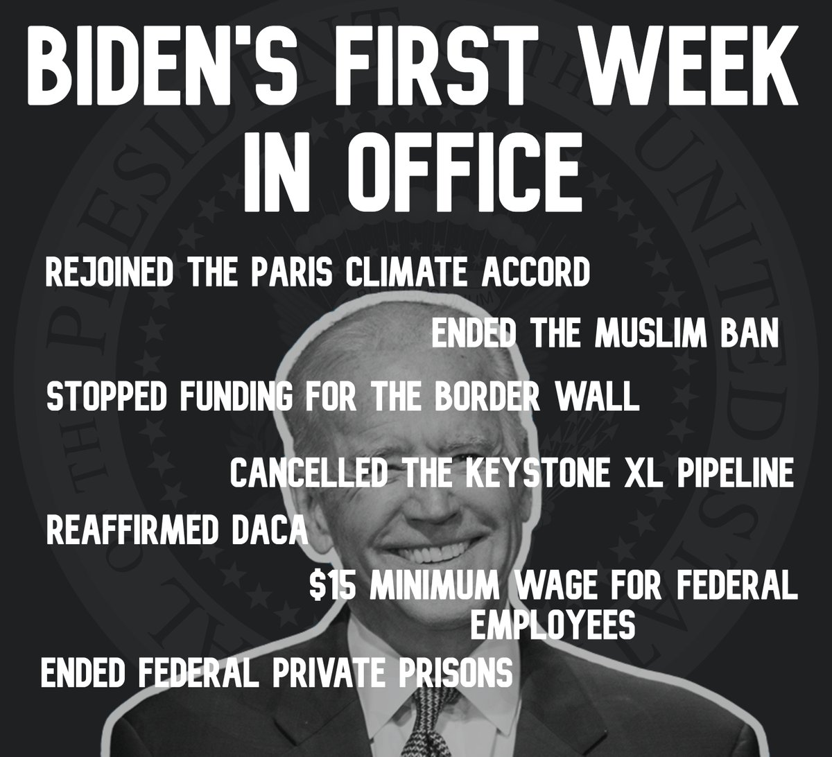 Not a bad first week for @POTUS! America's darkest moments are always followed by it's finest hours, and @JoeBiden is proving that. https://t.co/zAIgFHsNTi