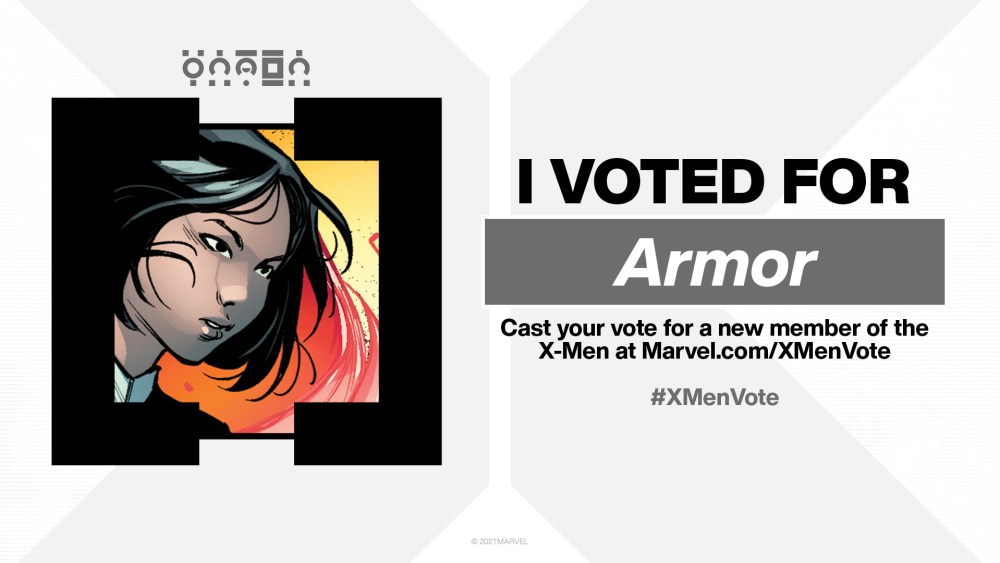 Hey, it's a goof fan vote with actual consequences! (Well, sorta!) I chose Armor for the #XMenVote for the simple reason that the X-Men are always better with teen girl in the main cast. It's a rule.