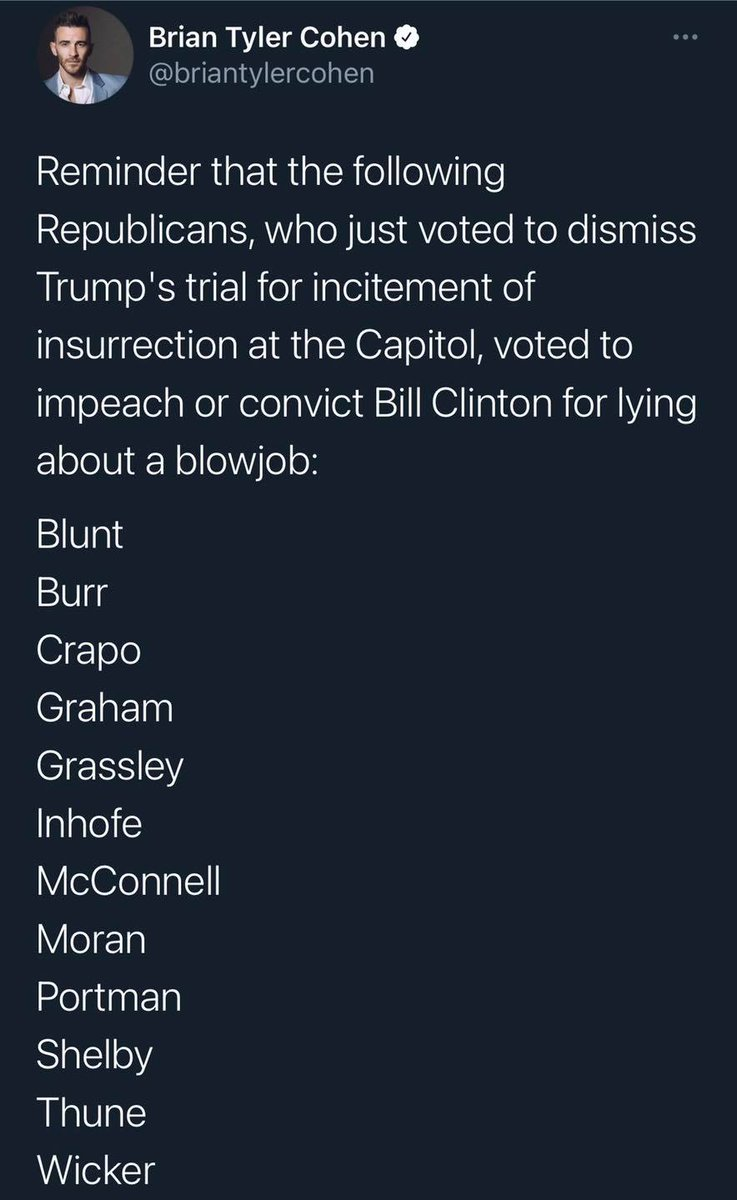 Mitch #McConnell led to delay the #impeachment trial and said it is now too late for convicting #Trump.  🤬😡🤬 Was the presidential BJ worse than this #insurrection?? I am officially hating GOP now.  #hotgirlsforbernie