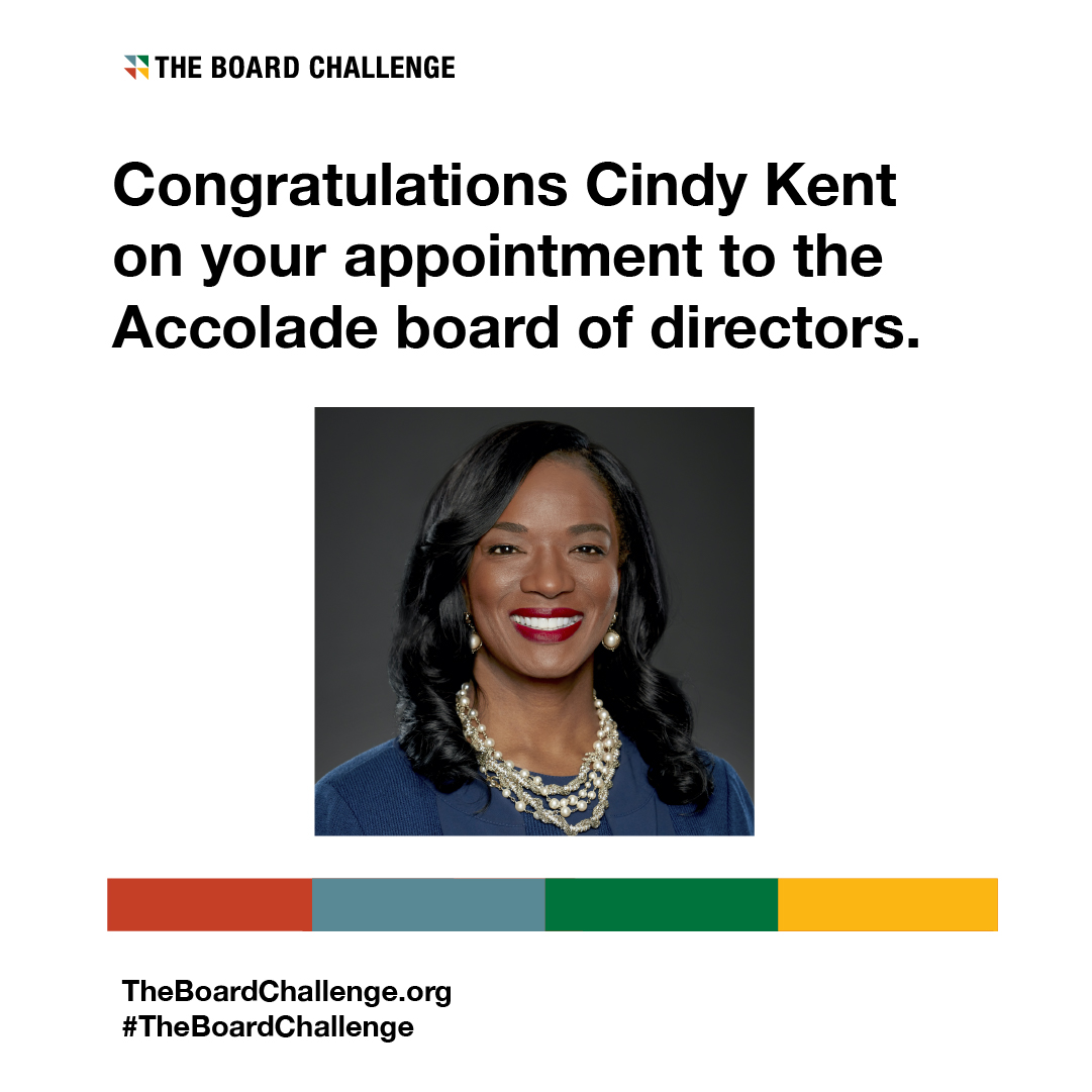 Congratulations @CindyRKent on your appointment to the @Accolade board of directors!   Learn how your organization can take the pledge:  #TheBoardChallenge