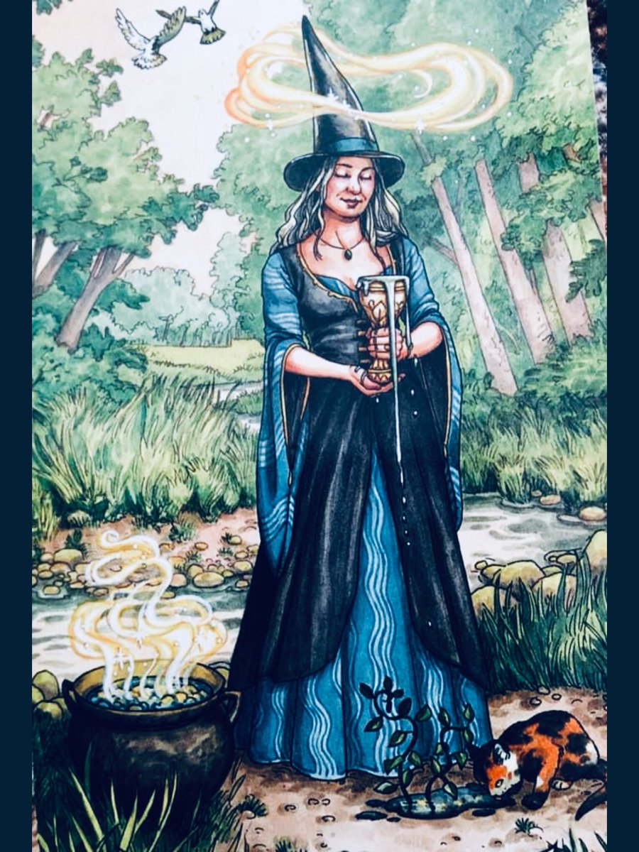 On Wednesday we wear navy or gray. Art by @elisabethalba for @deborahblake Everyday Witch Tarot. #colorsoftheday #wednesdaythought #Wednesdayvibe #everydaywitchtarot