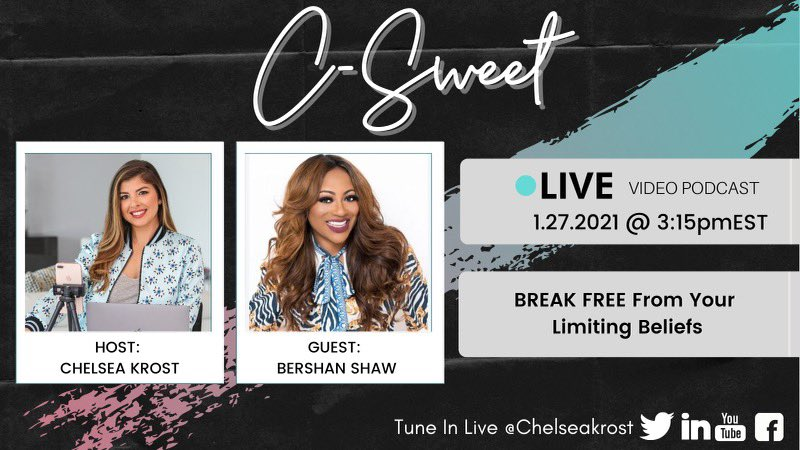 Hey #women #entrepreneurs it's time to live your #dreams and #goals. Join me today at 3:15 pm for a video podcast w/ my girl @ChelseaKrost giving you tips to Break Free from ur Limiting Beliefs. Stop living in fear #dream #GoalSetting2021 #goals