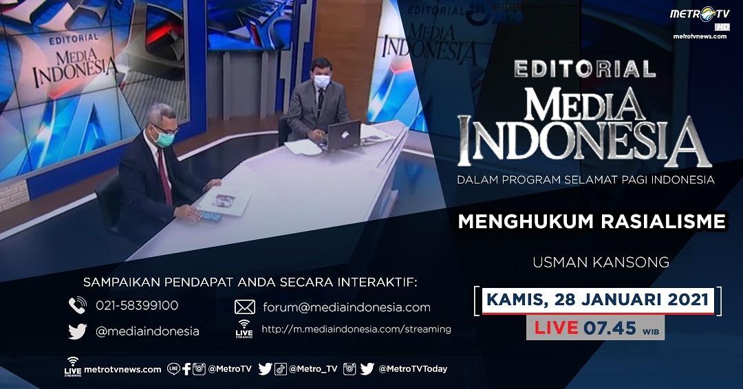 #EditorialMediaIndonesia hari Kamis (28/1) LIVE pukul 07.45 WIB dalam program #SPIMetroTV akan membahas kasus rasialisme yang sudah bisa dibilang sebagai kejahatan kemanusiaan, bersama pembedah Usman Kansong.  #metrotv #mediaindonesia