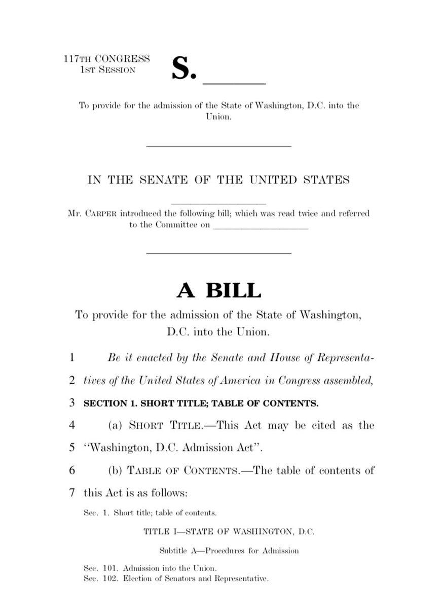 JUST IN: Sen. Carper introduces bill to make Washington, DC, the 51st US state. - @sahilkapur