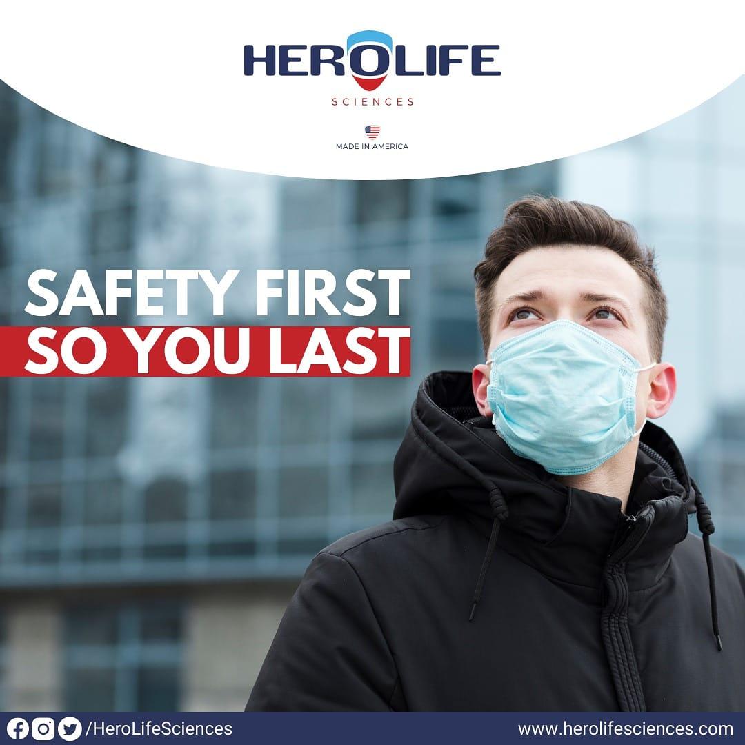 Choose safety. Choose Hero Life's 3 Ply Face Mask.  Visit:  #protectyourselfandothers  #healthcareworkers #masks #protectiveequipment  #bettersafethansorry #masklife #covidprotection #maskselfie #maskup #unitedstatesofamerica #USA #america #coronavirus