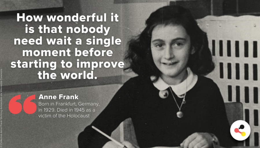 #AnneFrank's diary is regarded a historical document from the time of the #Holocaust. She's a symbolic figure against the genocide during National Socialism. She died in 1945 in Bergen-Belsen.   #QuoteOfTheDay #WeRemember #HolocaustRemembranceDay #HMD2021