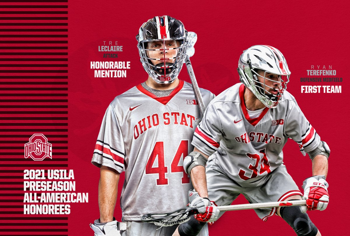 The #Buckeyes placed 2⃣ on the @USILA_Lax Preseason All-America team!  👊 to @Teerrryyy and @treleclaire ❗️  📰:   #GoBuckeyes