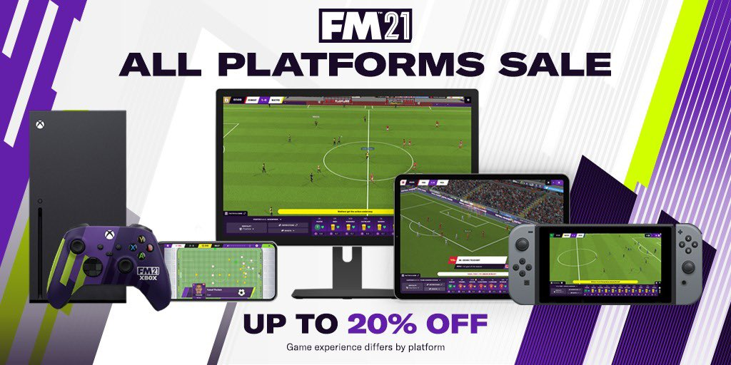 PC/Mac 💻 Xbox 🎮 Mobile & Tablet 📱 Switch 🕹  Whatever your device, get up to 20% off #FM21 from now until the 1st of Feb!   Start your journey today! 👉 https://t.co/87oNZJ49TS https://t.co/HldE8JBT3n