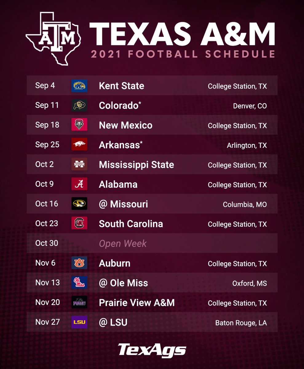 """TexAgs on Twitter: """"Texas A&M's 2021 football schedule 👀👍 #BTHOeveryone… """""""