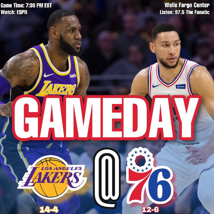 GAMEDAY . The #76ers will take on the #Lakers at home on national television! #HereTheyCome #LakeShow https://t.co/7ZEtVHPLOA