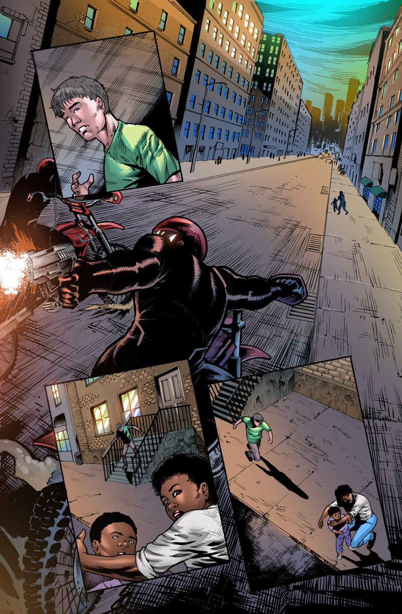 Baltimore has recently had a rolling gun battle between two rival motorcycle gangs. What do the agents of O.W.L. (Organic Weapons Legion) want with Dom & the Dragon Fly armor?  Dragon Fly 1 on #Kickstarter  #comics #NCBD #NewComicsDay #indiecomics  #HERO