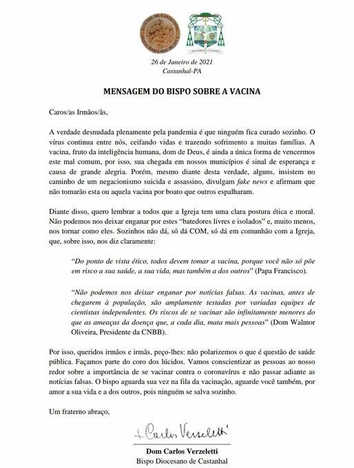 Mensagem lúcida e oportuna do bispo de Castanhal sobre a vacina