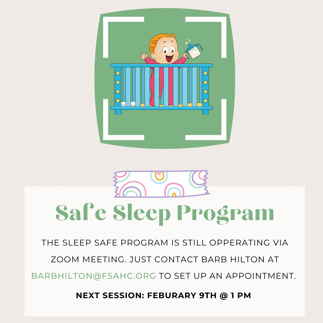 Our next Safe Sleep Zoom meeting is February 9, 2021, at 1 pm.   If you would like to set up an appointment please reach out to Barb Hilton via email: barbhilton@fsahc.org  #fsahc #empoweringpeople #PCA #greatchildhoods #safesleep #socialgood #charity #nonprofit