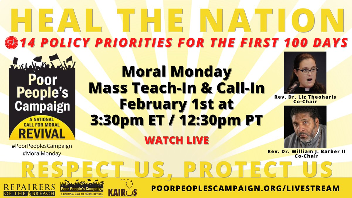 We need to take action regardless of who's in power: Join us Feb. 1 to launch #MoralMondays in the #First100Days w/ a teach-in on the new political moment we're in & to join a massive call-in to Schumer & McConnell to demand immediate COVID relief: https://t.co/WBp1bKktNT https://t.co/IS0bvCvk6f