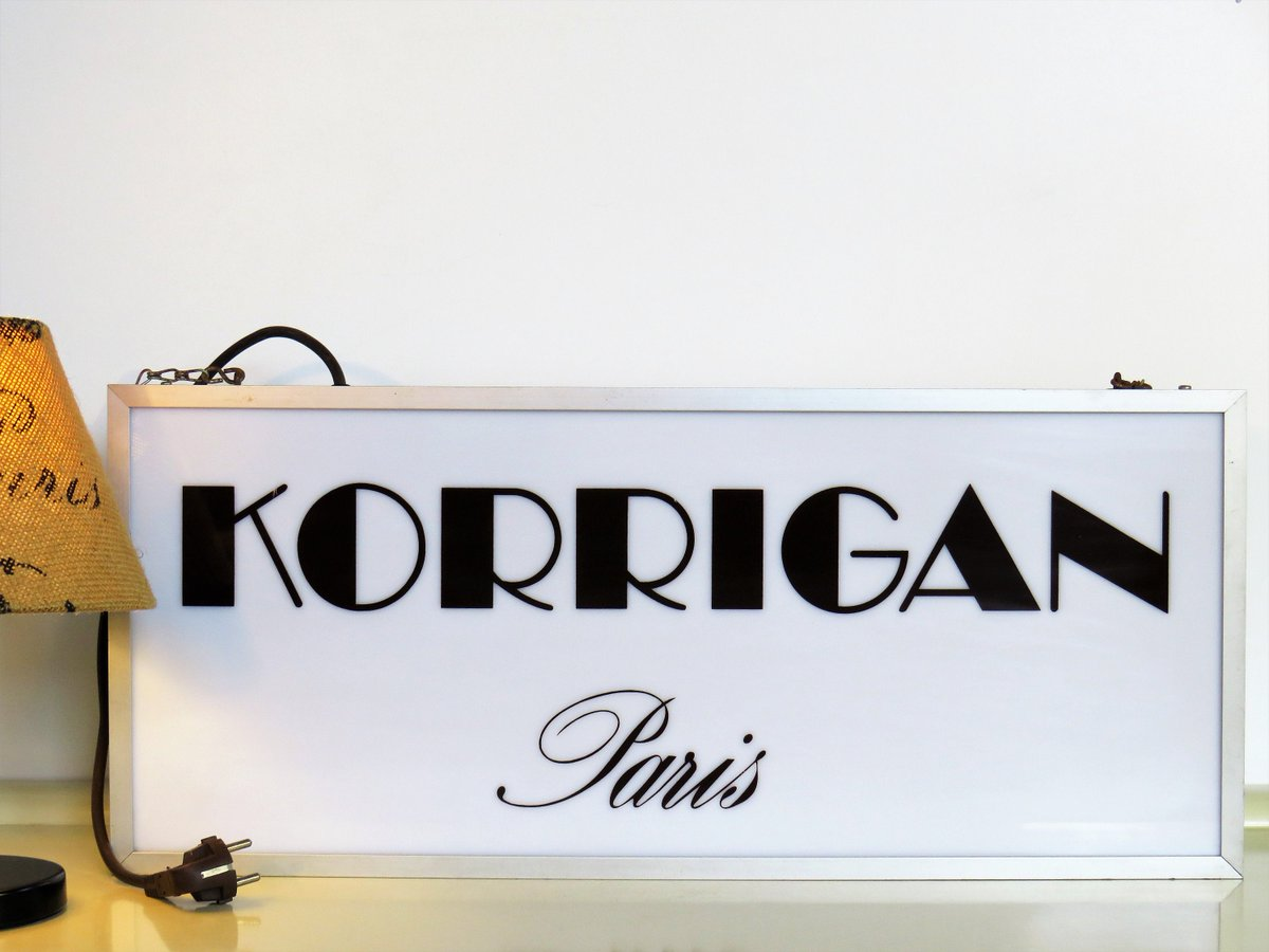 Vintage Original Lighted Advertising Sign, KORRIGAN Paris, Lighted Store Display Sign, Clothing Advertising, French Home Decor, 70s  #BlackFriday #CYBERSALE #covid-19 #FREESHIPPING #Christmas #Retro #Vintage #MyNewTag #LightedSign