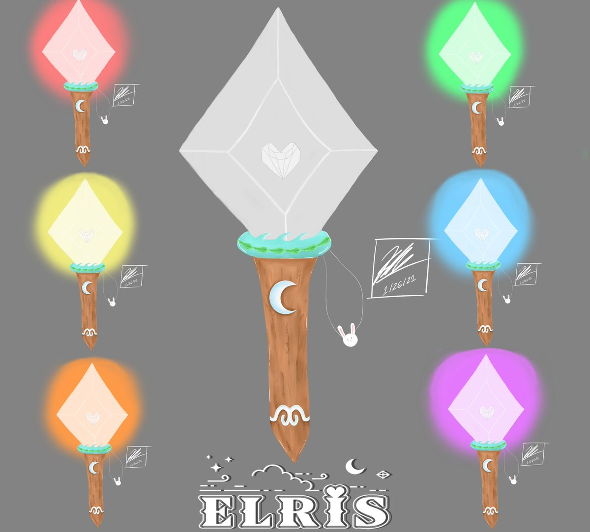 ELRIS Lightstick Concept! I drew it based off of their symbols on their logo and also added a bunny for the Alice in Wonderland theme. I also did rainbow changing lights as well to go with the group! #ELRIS #YUKYUNG #SOHEE #BELLA #HYESEONG #KARIN #EJ #CHAEJEONG #BLRIS