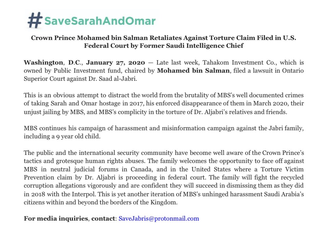 MBS continues his desperate attempts to distract the world from his grotesque litany of human rights crimes.  This includes taking Sarah and Omar Aljabri hostage and whose whereabouts remain unknown.  Statement on latest development 👇🏽 #SaveSarahAndOmar