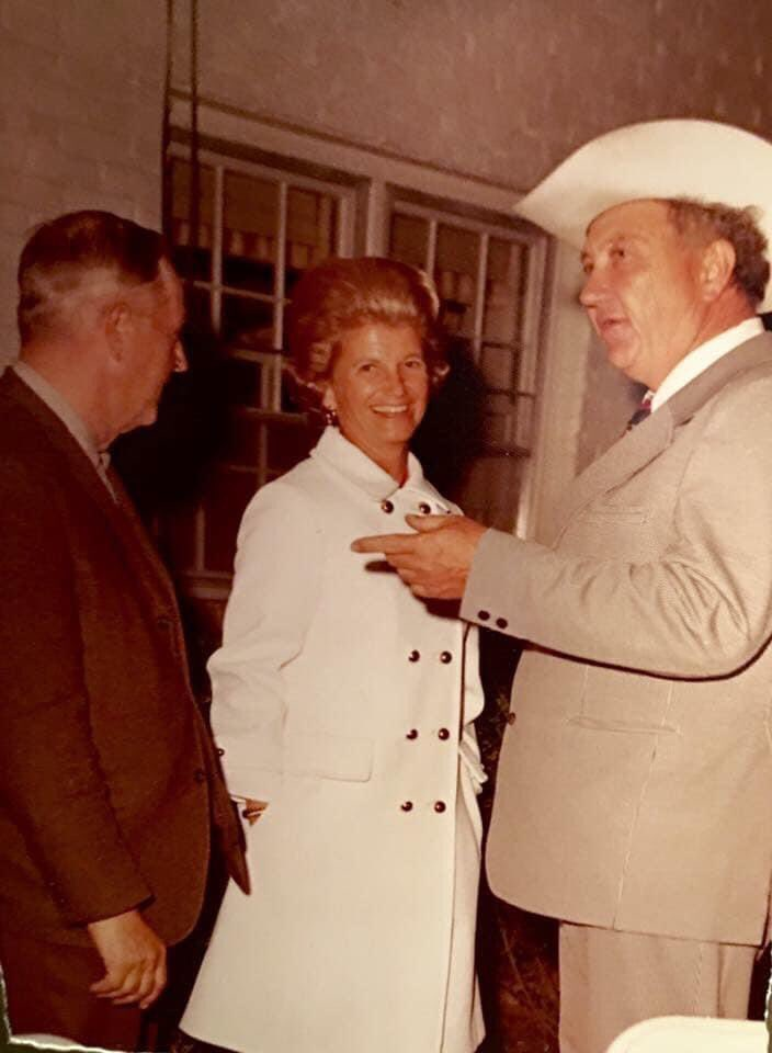 """Happy Birthday to the """"1st"""" Lady of racing, """"Penny"""" Chenery. 🎂  I will forever cherish this photo as seen here with my dad at a Preston Madden @KentuckyDerby party, circa 1972.🏇🌹#legend"""