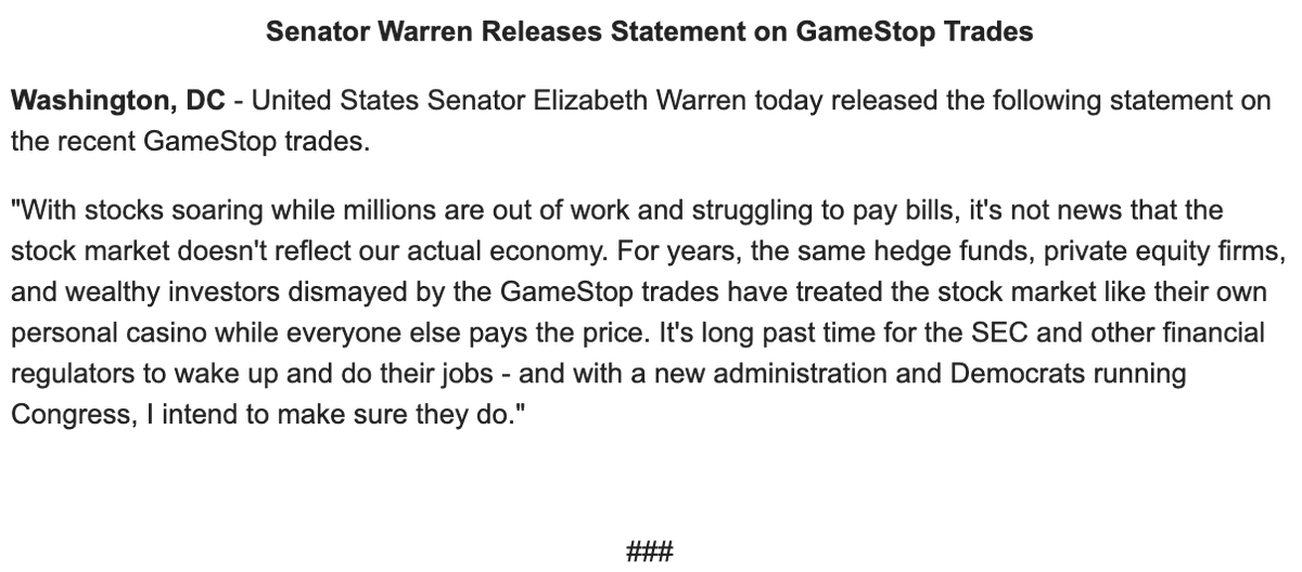 """Elizabeth Warren on the GameStop trading: """"For years, the same hedge funds, private equity firms, and wealthy investors dismayed by the GameStop trades have treated the stock market like their own personal casino while everyone else pays the price."""""""